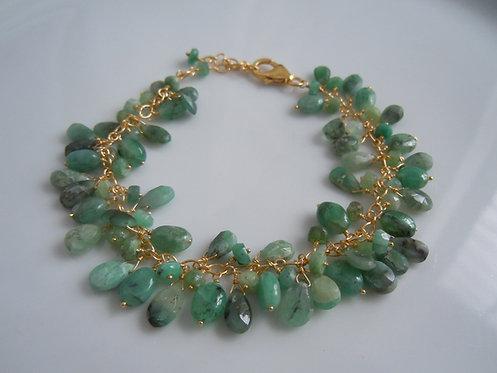 Emerald Gemstone Cluster Bracelet