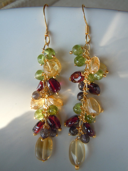 Autumn Medley Cascading Gemstone Earrings