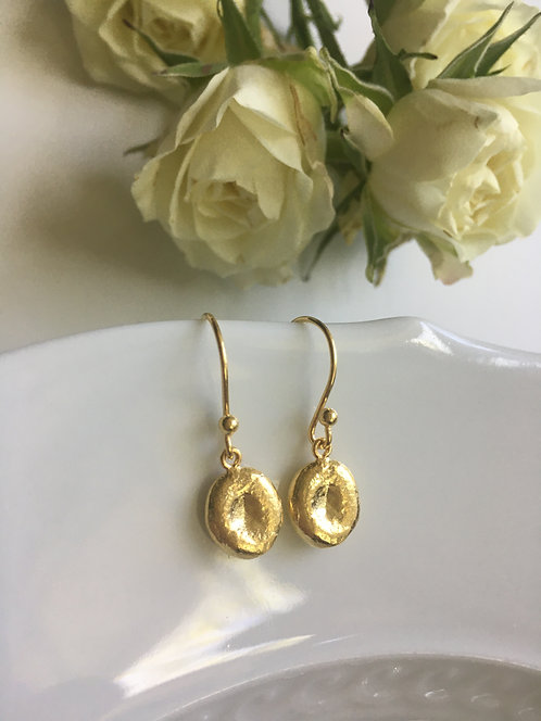 Handcrafted 14 kt  Hammered Gold Vermeil Drop Earrings