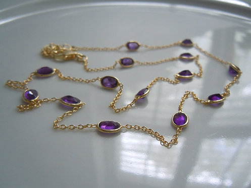 Faceted Amethyst Bezel-set Necklace