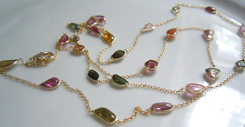 Watermelon Tourmaline Long Necklace