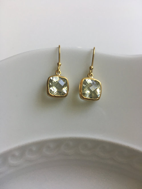 Faceted Square Cut Green Amethyst Earringsl