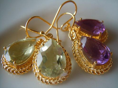 Exceptional Faceted Amethyst/Green Amethyst Earrings in Fancy Bezel Setting