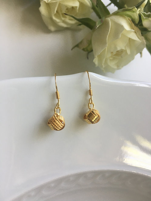 14 kt Gold Vermeil Double-banded Drop Earrings