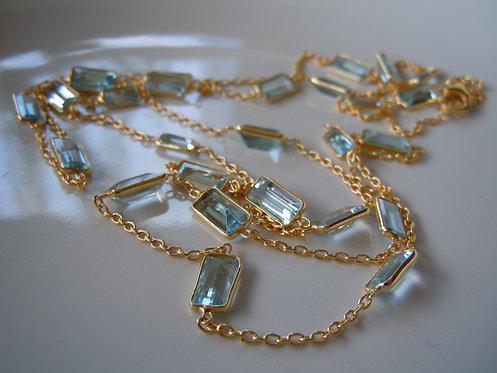 Aquamarine Baguette Cut Gemstone Necklace