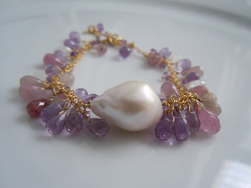 Baroque Pearl with Amethyst,Pink Tourmaline, Moonstone