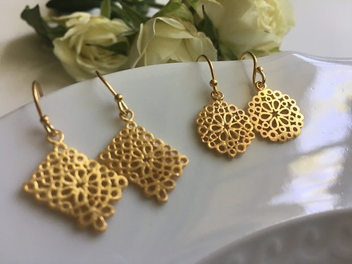 Handcrafted 14 kt Gold Vermeil Earrings