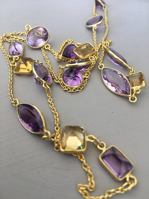 Citrine and Amethyst Bezel Gemstone Necklace