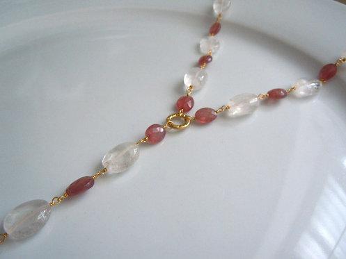 Moonstone & Pink Tourmaline Necklace