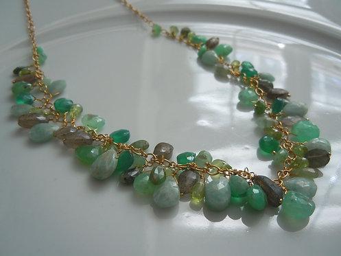 Emerald, Labradorite, Amazonite, Green Onyx and Peridot Necklace