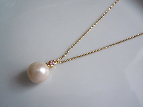 Freshwater Pearl Necklace with Pink Tourmaline Accent