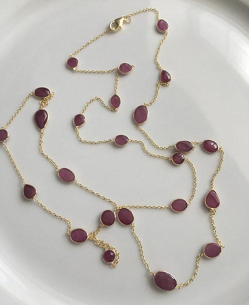Bezel-set Cabichon Rubies on 14 kt gold Vermeil Long Necklace