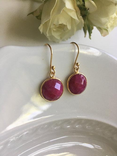 Faceted Ruby Earrings