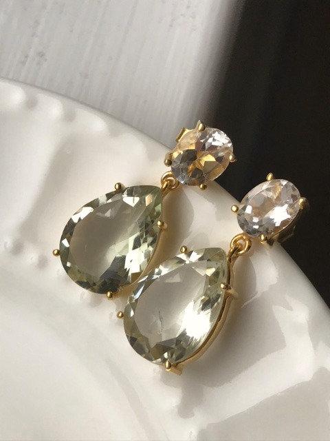 Faceted Green Amethyst Post Earrings