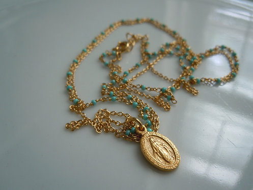 2 Strand Virgin Mary Necklace Turquoise