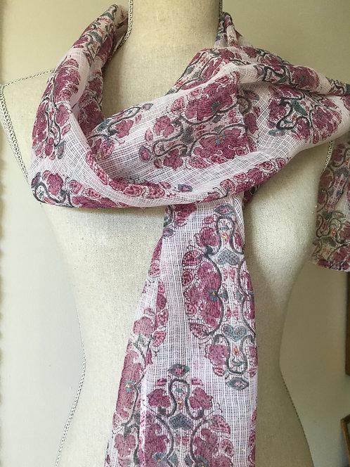 Hand Block Printed Silk Organza Shawl