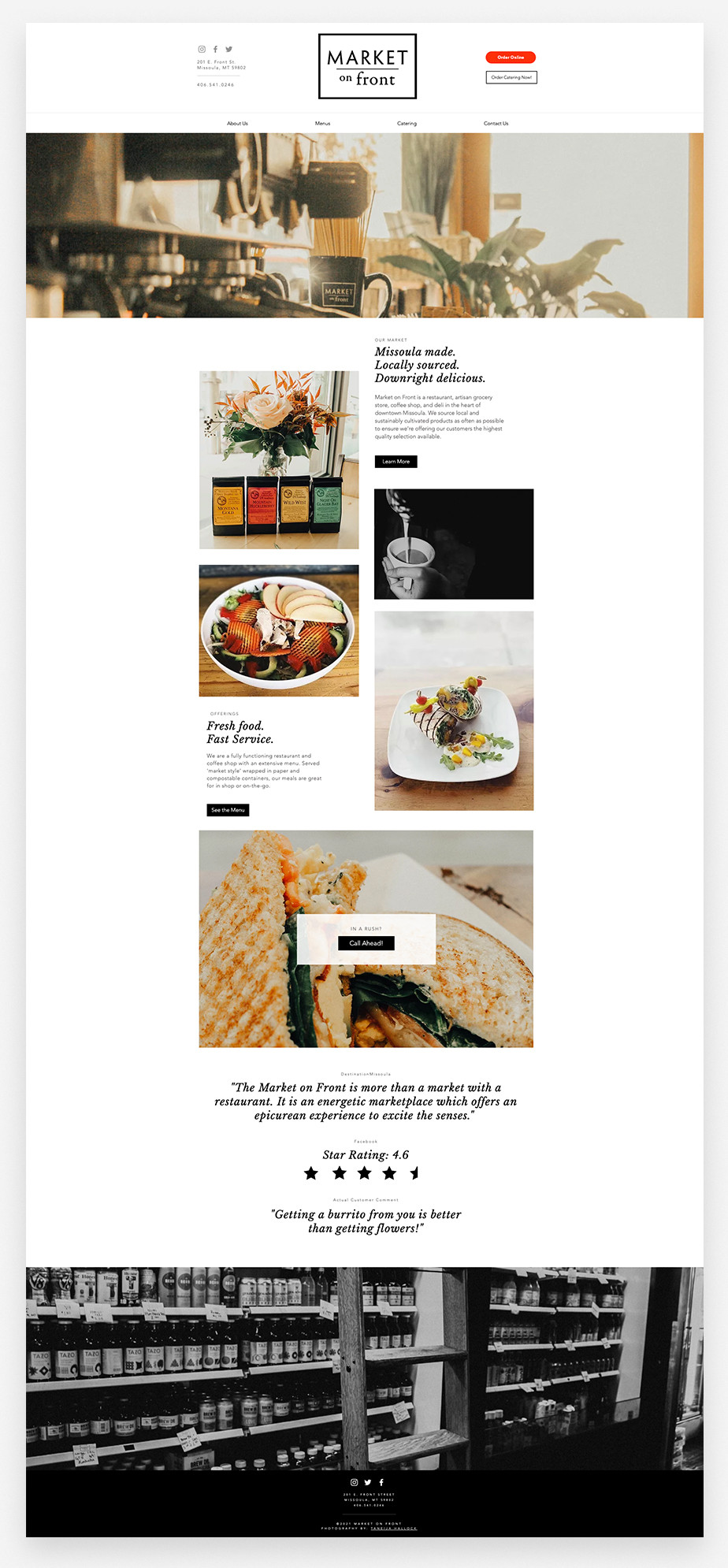 Market on Front restaurant website