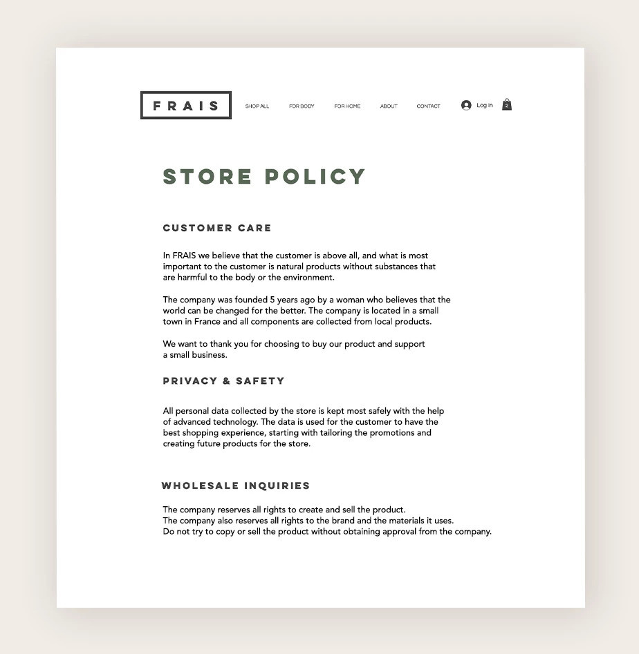 Privacy policy for a small business website