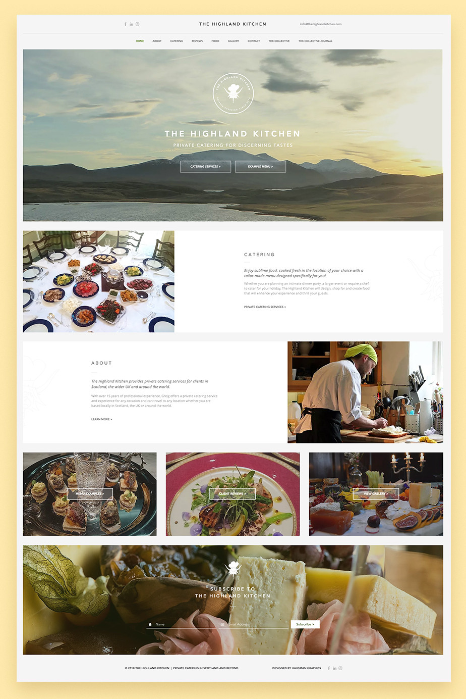 The Highland Kitchen restaurant website