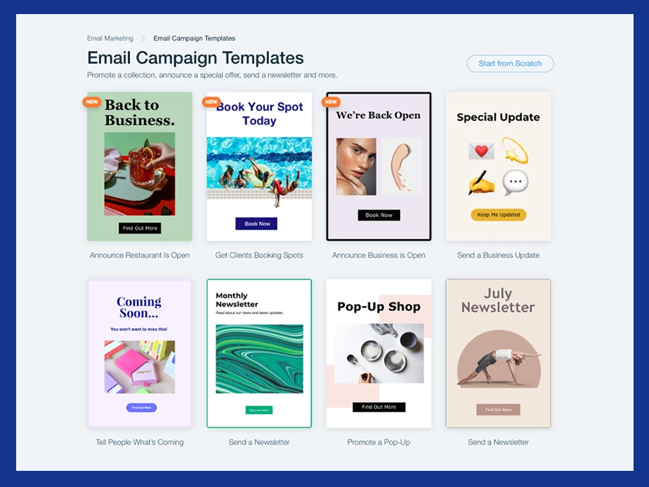 Email marketing web templates