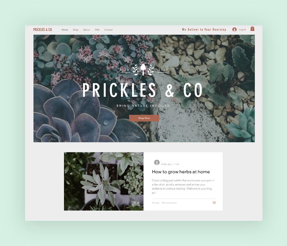 Website template for plant shop