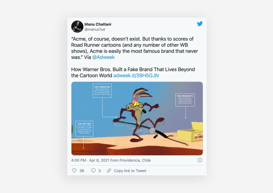 Tweet about Looney Tunes - Acme Co,