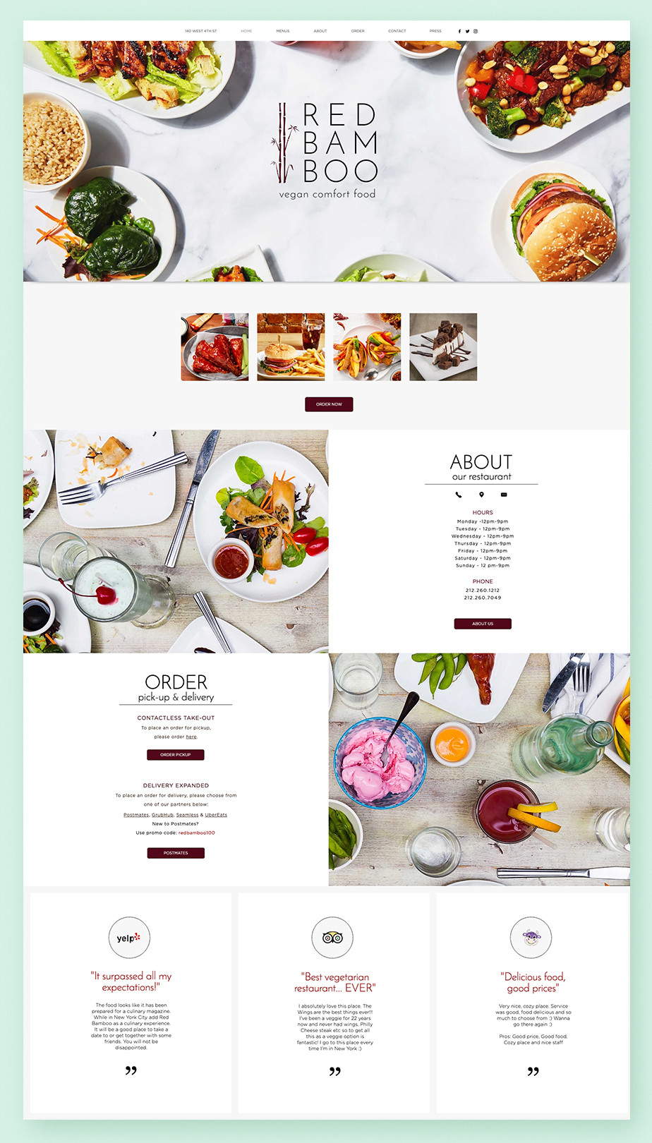 Red Bamboo restaurant website