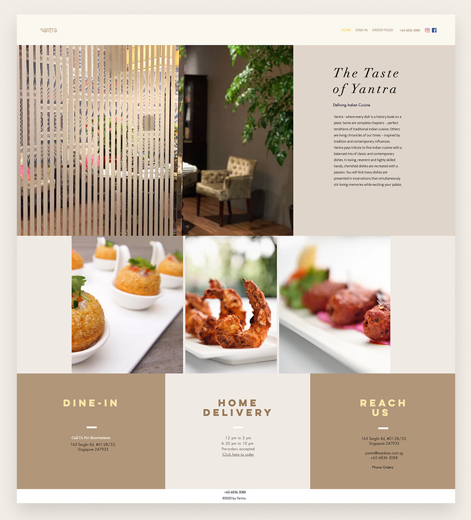 Yantra restaurant website