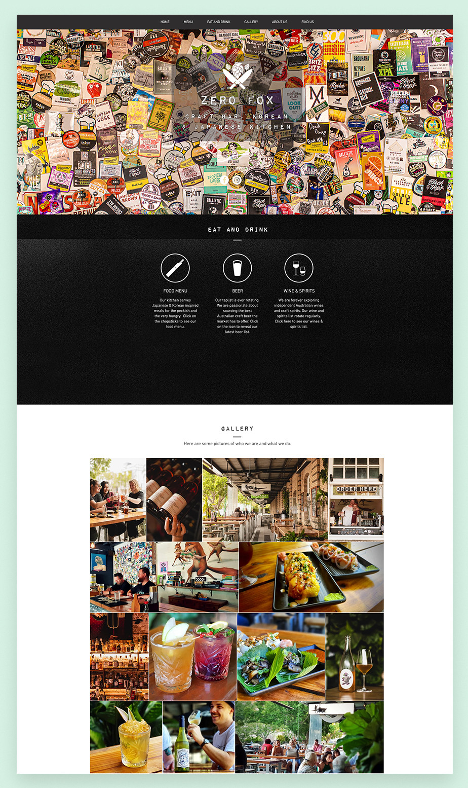 Zero Fox restaurant website