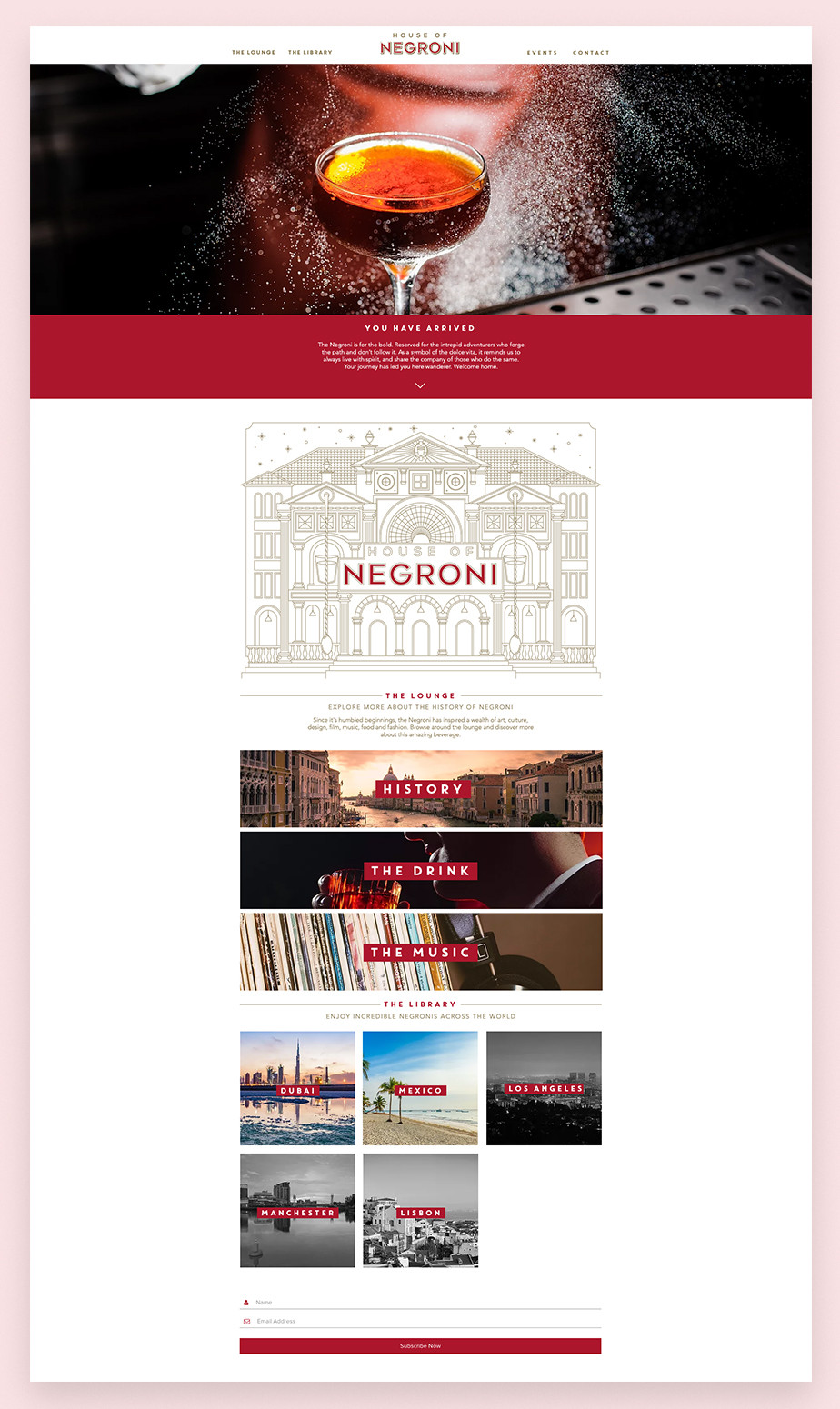 House of Negroni restaurant website