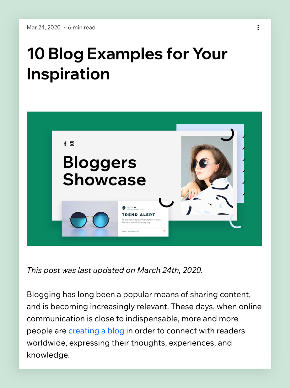 Showcase blog post template