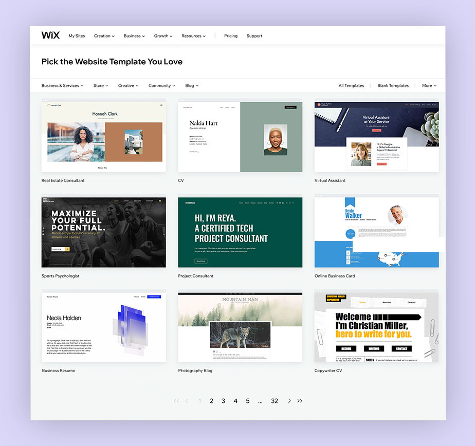 Pick a template for your freelance website
