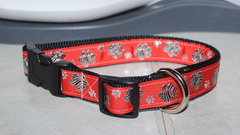 RED METALLIC ZEBRA PAWS Plastic Buckle