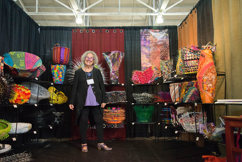 Contemporary basketry artist Emily Dvorin participates in several booth shows each year.