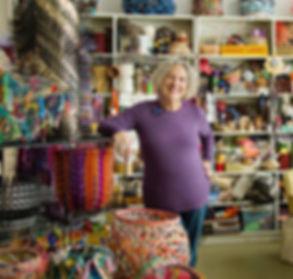 Contemporary, innovative basketry artist Emily Dvorin in her Sausalito studio.