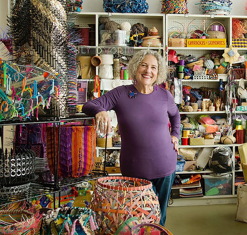 Contemporary, innovative basketry artist Emily Dvorin in her Sausalito studio.