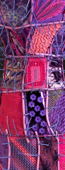 Details of a contemporary vessel by Sausalito basket artist, Emily Dvorin, made from tomato cage, fabric, plastic, zippers, embroidery floss, pencils, needlepoint canvas, buttons, and cable ties.