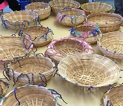 Baskets created by students of contemporary basket artist, Emily Dvorin.