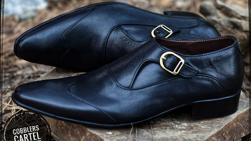 Black Leather Monk Strap Ox Patina