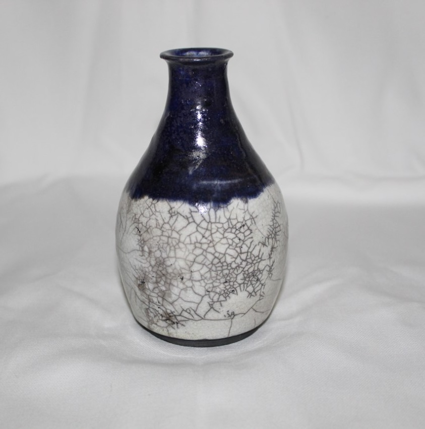 Ceramic Raku Fired Crackle Vase