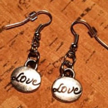 Small Metal Word Earrings