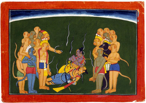 Rama & Lakshmana tied by nagāstra of Indrajit.