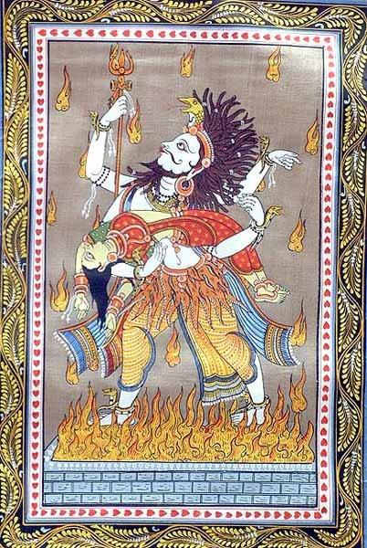 Шива с телом Сати