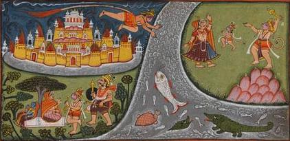 Прыжок Ханумана через море на Ланку.