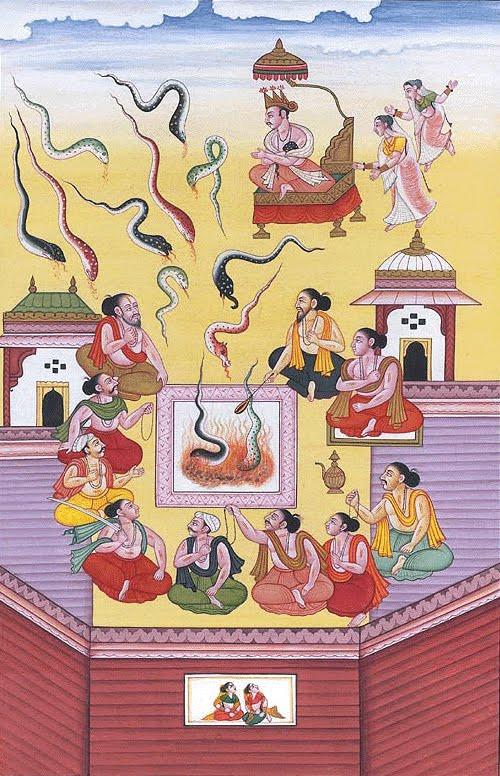 Жертвоприношение змей (сарпа-сатра) царя Джанамеджайи.