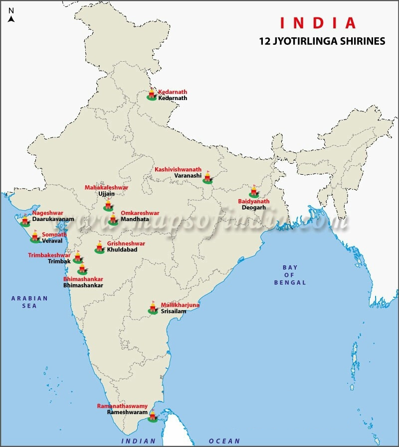 Location of 12 jyotirlingas.