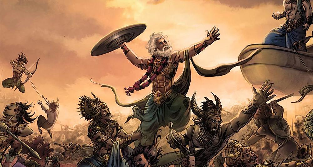 "Битва на Курукшетре, описанная в ""Махабхарате""."