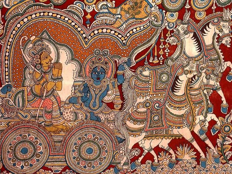 Кришна с Арджуной в колеснице на Курукшетре. На жёлтом флаге вверху изображение Ханумана.