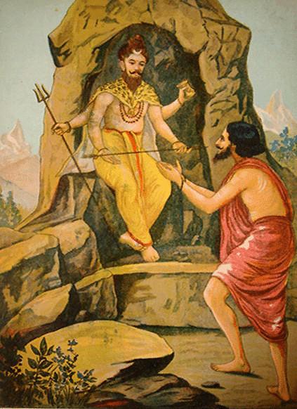Шива вручает Пашупата-астру Арджуне.