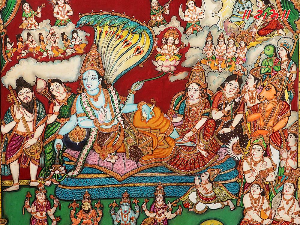 Махавишну, Лакшми, Ганга и Сарасвати на змее Шеше